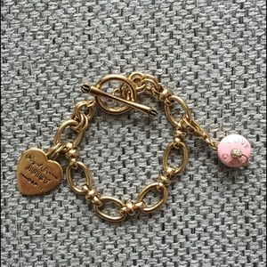 Juicy Couture Heart Bracelet And Cup Cake Charm